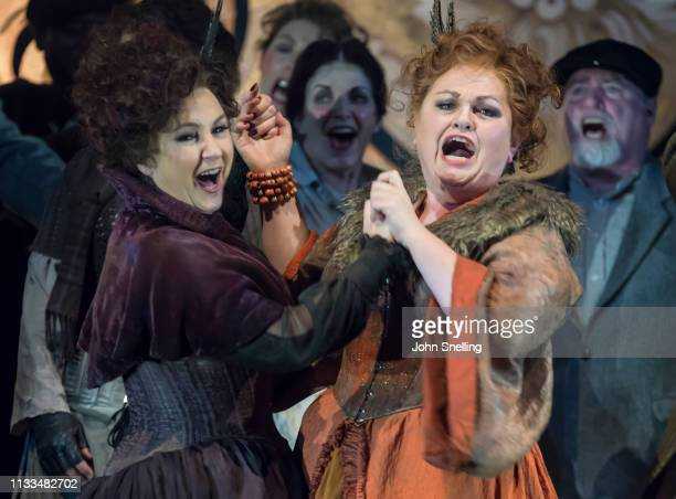 Susan Bullock as Liz Stride and Lesley Garrett as Catherine Eddowes perform on stage in a production of Iain Bell's Jack The Ripper by the English...