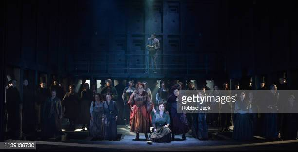 Susan Bullock as Liz Stride Natalya Romaniw as Mary Kelly and Lesley Garrett as Catherine Eddowes with artists of the company in English National...