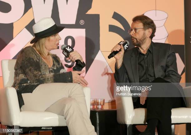 Susan Butler and Bjorn Ulvaeus speak onstage at Featured Session Creator Credits Providing the Missing Links during the 2019 SXSW Conference and...