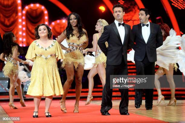 Susan Calman Alexandra Burke Joe McFadden and Davood Ghadami attend the 'Strictly Come Dancing' Live photocall at Arena Birmingham on January 18 2018...