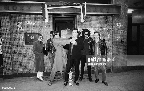 Susan Carrington, JR , Ralph Jedraszcyk, Andrew Czezowski , DJ Don Letts, Peter Crowley outside punk club The Roxy, Covent Garden, London, 28th March...