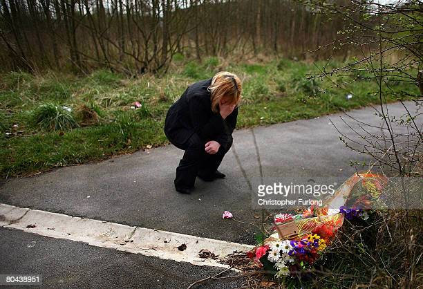 Susan Croft the mother of murdered teenager Paul Croft makes an emotional visit to the scene of his death on 31 March 2008 in Salford Greater...
