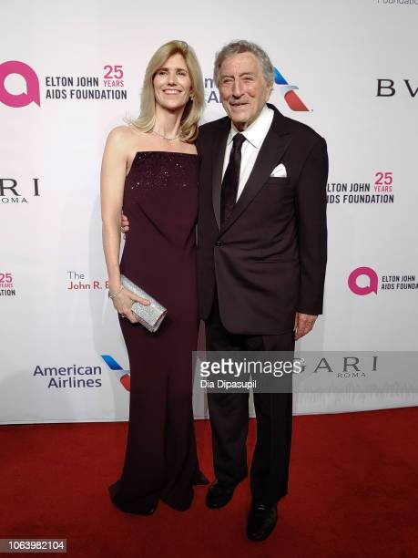 Susan Crow and Tony Bennett arrive on the red carpet at the Elton John AIDS Foundation's 17th Annual An Enduring Vision Benefit at Cipriani 42nd...