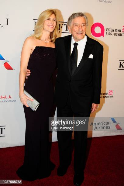 Susan Crow and Tony Bennett attend Elton John AIDS Foundation's 17th Annual An Enduring Vision Benefit at Cipriani 42nd Street NYC on November 5 2018...