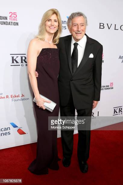 Susan Crow and Tony Bennett attend the Elton John AIDS Foundation's 17th Annual An Enduring Vision Benefit at Cipriani 42nd Street on November 5 2018...