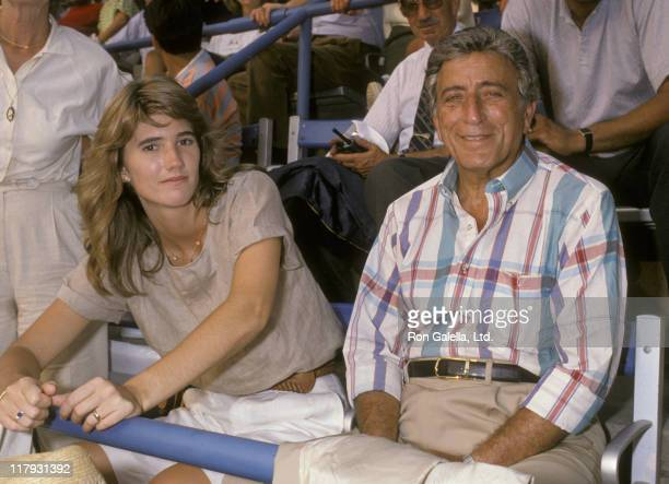 Susan Crow and Tony Bennett during 1989 US Open Tennis Tournament at Flushing Meadow Park in Queens New York United States