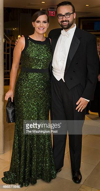 Susan Davis USA Today's chief congressional correspondent and Adam AignerTreworgy of CBS News arrive at the Gridiron Club Dinner at the Renaissance...