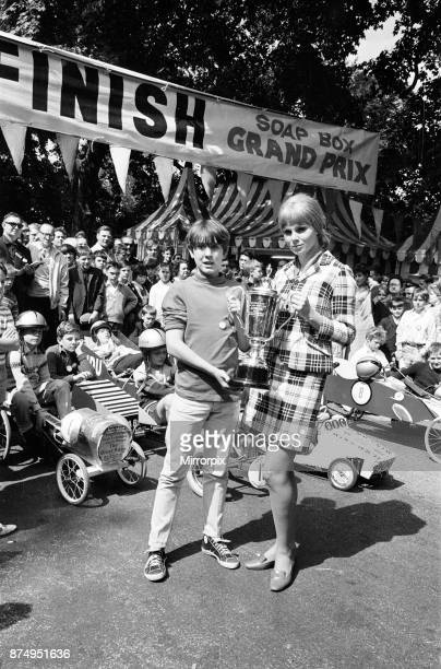 Susan Denberg actress and special guest to launch and present prizes at the Soapbox Grand Prix 1966 at Alexandra Palace London 14th August 1966