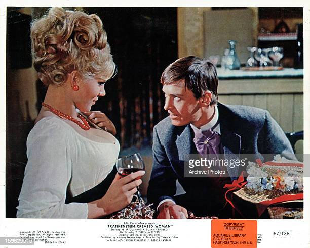 Susan Denberg talks to Peter Cushing in a scene from the film 'Frankenstein Created Woman' 1967