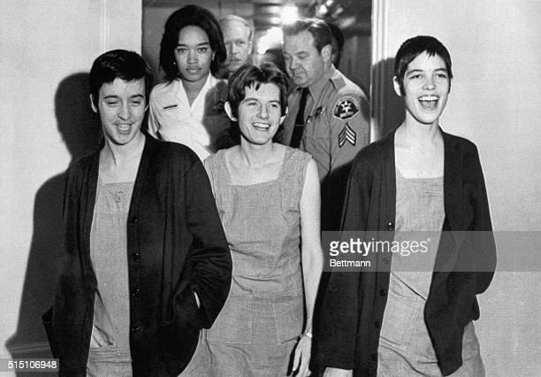 Susan Denise Atkins Patricia Krenwinkel and Leslie Van Houten laugh after receiving the death sentence for their part in the TateLaBianca killing at...