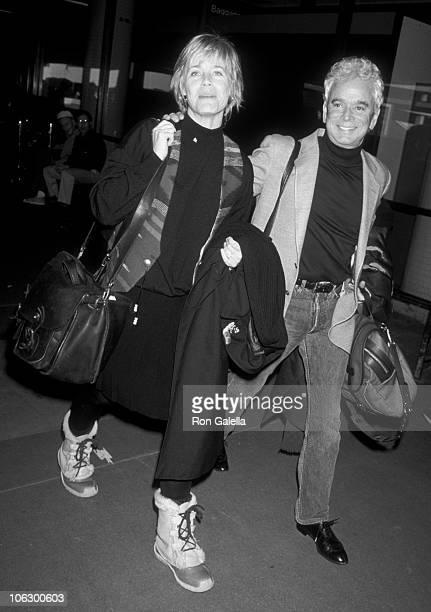 Susan Dey and Bernard Sofronski during Susan Dey at Los Angeles International Airport at Los Angeles International Airport in Los Angeles California...