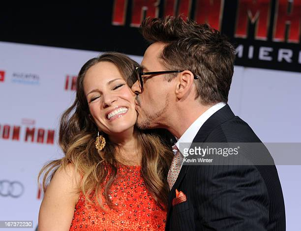 """Susan Downey and actor Robert Downey Jr. Arrive at the premiere of Walt Disney Pictures' """"Iron Man 3"""" at the El Capitan Theatre on April 24, 2013 in..."""