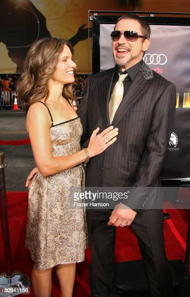 "Susan Downey and actor Robert Downey Jr. Arrive at the premiere of Paramount's ""Iron Man"" held at Grauman's Chinese Theatre on April 30, 2008 in..."