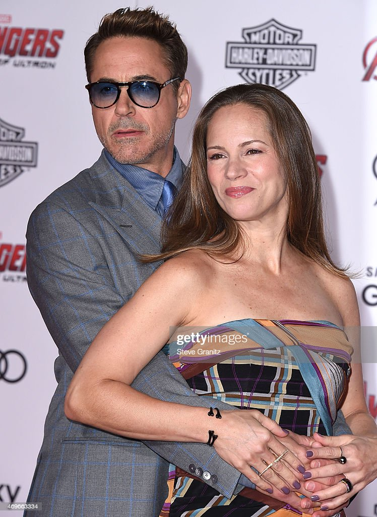 Susan Downey and Robert Downey Jr. arrives at the Marvel's 'Avengers: Age Of Ultron' - Los Angeles Premiere at Dolby Theatre on April 13, 2015 in Hollywood, California.