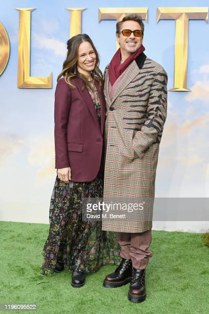 """Susan Downey and Robert Downey Jr. Attend a special screening of """"Dolittle"""" at Cineworld Leicester Square on January 25, 2020 in London, England."""