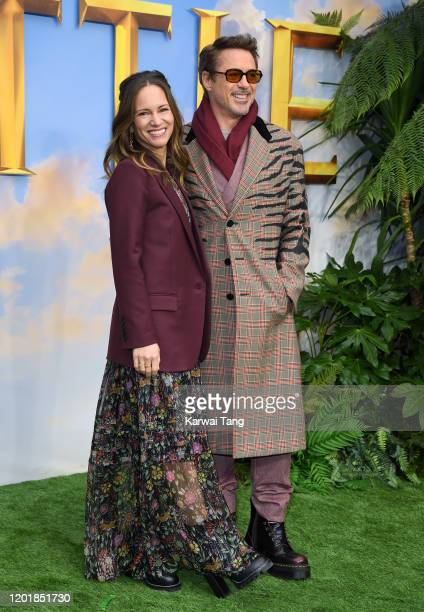 Susan Downey and Robert Downey Jr attend the Dolittle special screening at Cineworld Leicester Square on January 25 2020 in London England