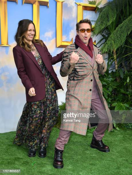 """Susan Downey and Robert Downey Jr. Attend the """"Dolittle"""" special screening at Cineworld Leicester Square on January 25, 2020 in London, England."""