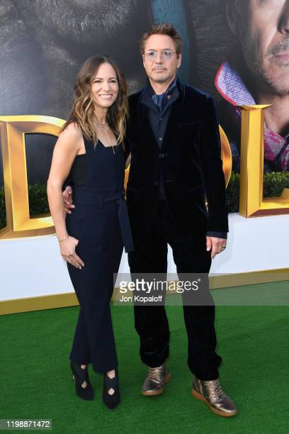 """Susan Downey and Robert Downey Jr. Attend the Premiere of Universal Pictures' """"Dolittle"""" at Regency Village Theatre on January 11, 2020 in Westwood,..."""