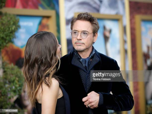 Susan Downey and Robert Downey Jr attend the Premiere of Universal Pictures' Dolittle at Regency Village Theatre on January 11 2020 in Westwood...