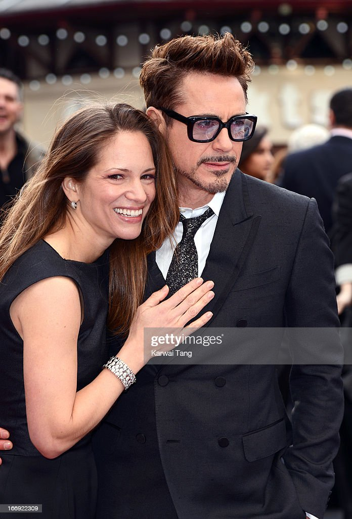 Susan Downey and Robert Downey Jr attends a special screening of 'Iron Man 3' at Odeon Leicester Square on April 18, 2013 in London, England.
