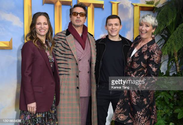 Susan Downey Robert Downey Jr Tom Holland and Dame Emma Thompson attend the Dolittle special screening at Cineworld Leicester Square on January 25...
