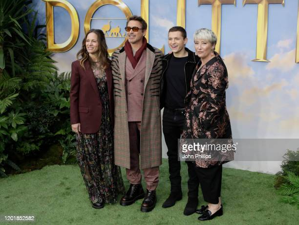 Susan Downey Robert Downey Jr Tom Holland and Emma Thompson attends the Dolittle special screening at Cineworld Leicester Square on January 25 2020...