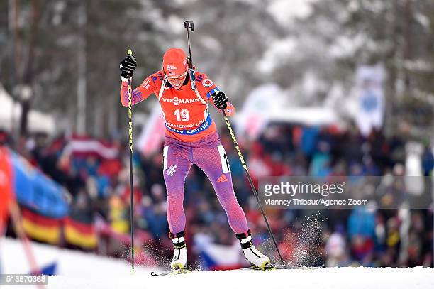 Susan Dunklee competes during the IBU Biathlon World Championships Men's and Women's Sprint on March 5, 2016 in Oslo, Norway.