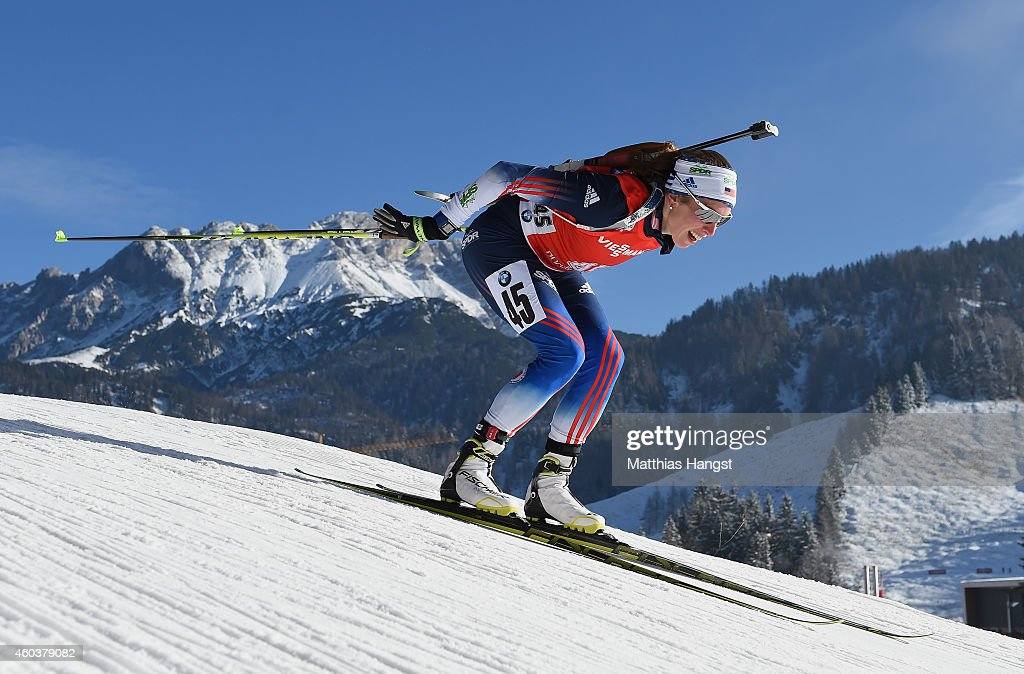 Susan Dunklee of the United States competes during the women's 7,5 km sprint event during the IBU Biathlon World Cup on December 12, 2014 in Hochfilzen, Austria.