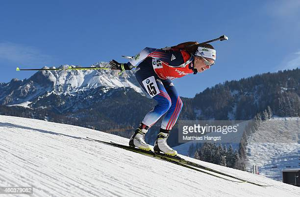 Susan Dunklee of the United States competes during the women's 75 km sprint event during the IBU Biathlon World Cup on December 12 2014 in Hochfilzen...