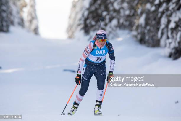 Susan Dunklee of the United States of America competes during the Women 7.5 km Sprint Competition at the IBU World Championships Biathlon Pokljuka on...