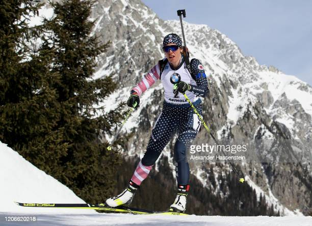 Susan Dunklee of the Unites States competes during the Women 10 km Pursuit Competition at the IBU World Championships Biathlon Antholz-Anterselva on...
