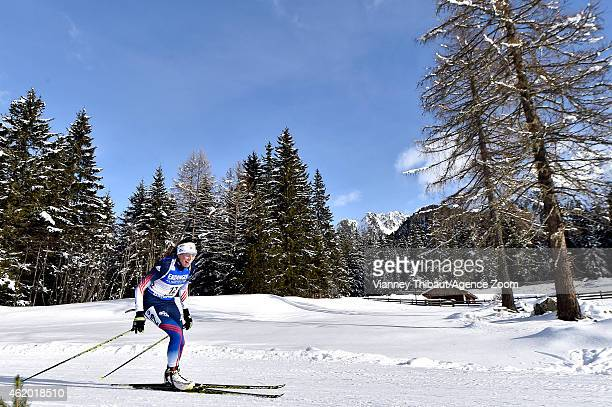 Susan Dunklee of the USA competes during the IBU Biathlon World Cup Women's Sprint on January 23, 2015 in Antholz-Anterselva, Italy.
