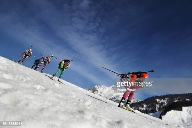 Susan Dunklee of the USA competes in the first leg of the Mixed Relay competition of the IBU World Championships Biathlon 2017 at the Biathlon...