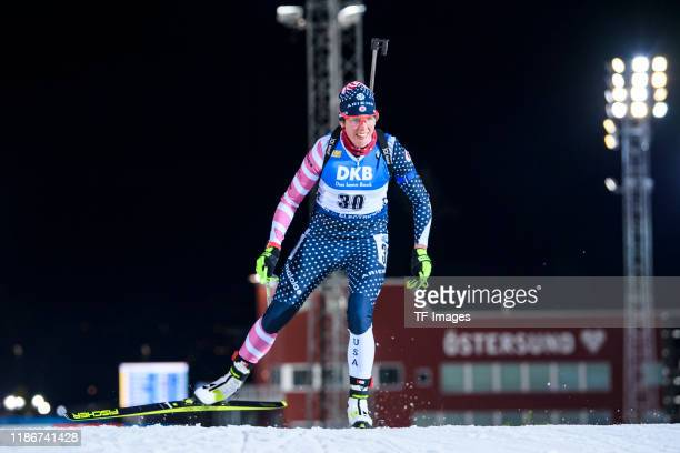 Susan Dunklee of United States in action competes during the Women 15 km Individual Competition at the BMW IBU World Cup Biathlon Oestersund at on...