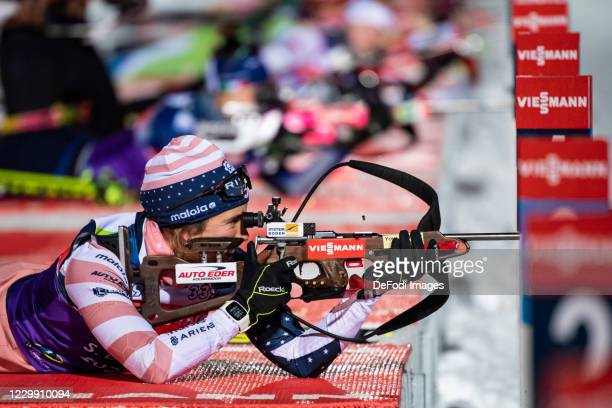 Susan Dunklee of USA at the shooting range during a training session ahead of the BMW IBU World Cup Biathlon Kontiolahti at on December 2, 2020 in...