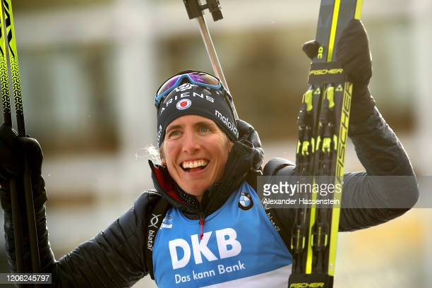 Susan Dunklee of USA celebrates at the flower ceremony winning the 2nd place at the Women 7.5 km Sprint Competition at the IBU World Championships...