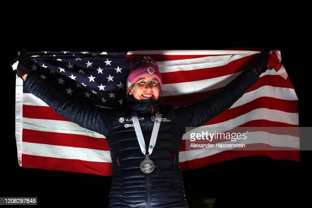 Susan Dunklee of USA celebrates at the victory ceremony winning the 2nd place at the Women 7.5 km Sprint Competition at the IBU World Championships...