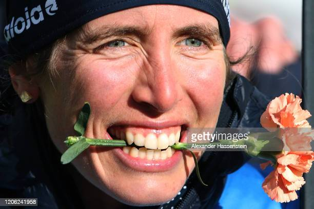 Susan Dunklee of USA celebrates winning the 2nd place after the Women 7.5 km Sprint Competition at the IBU World Championships Biathlon...
