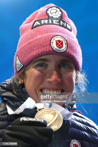 Susan Dunklee of USA celebrates winning the 2nd place at the victory ceremony for the Women 7.5 km Sprint Competition at the IBU World Championships...
