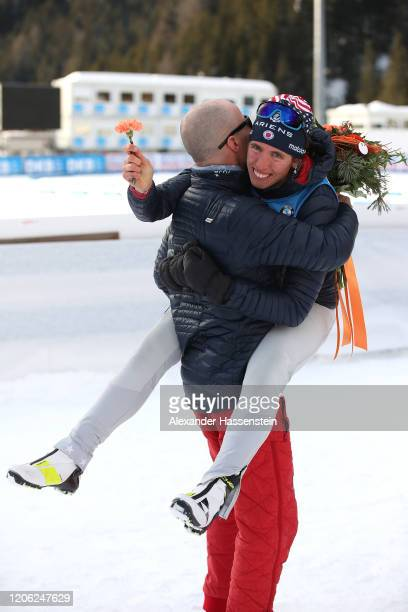 Susan Dunklee of USA celebrates winning the 2nd place with USA head coach Achim Auchentaller after the Women 7.5 km Sprint Competition at the IBU...