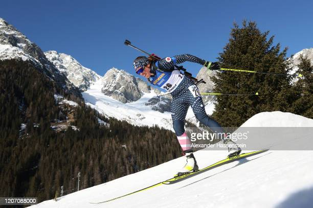 Susan Dunklee of USA competes during the Women 15 km Individual Competition at the IBU World Championships Biathlon Antholz-Anterselva on February...