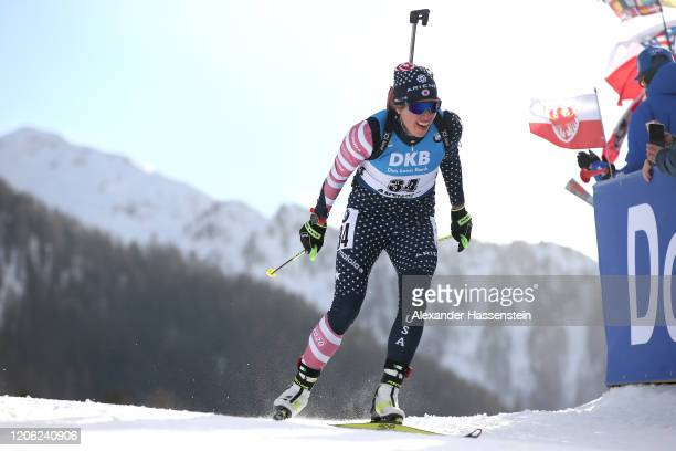 Susan Dunklee of USA competes during the Women 7.5 km Sprint Competition at the IBU World Championships Biathlon Antholz-Anterselva on February 14,...