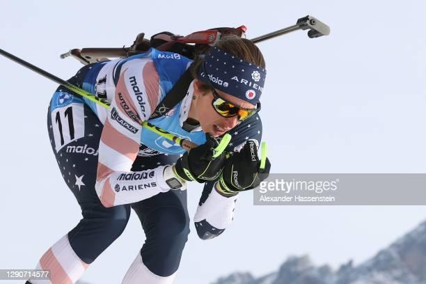 Susan Dunklee of USA competes during the Women 7.5 km Sprint Competition at the BMW IBU World Cup Biathlon Hochfilzen at Biathlon Stadium Hochfilzen...