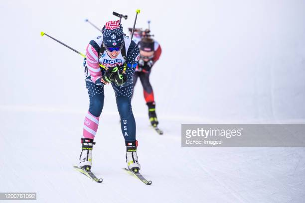 Susan Dunklee of USA in action competes during the Mixed Relay at the IBU World Championships Biathlon Antholz-Anterselva on February 13, 2020 in...