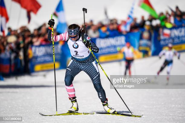 Susan Dunklee of USA in action competes during the Women 10 km Pursuit Competition at the IBU World Championships Biathlon Antholz-Anterselva on...