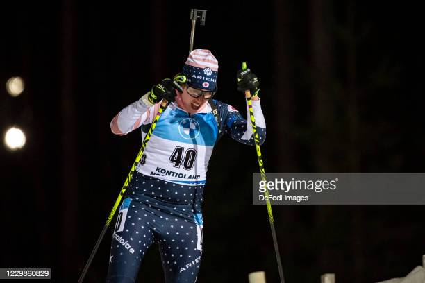 Susan Dunklee of USA in action competes during the Women 7.5 km Sprint Competition at the BMW IBU World Cup Biathlon Season Opening Kontiolahti on...