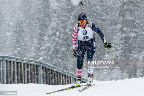Susan Dunklee of USA in action during the IBU Biathlon World Cup Women's 10 km Pursuit Competition on January 19, 2020 in Ruhpolding, Germany.