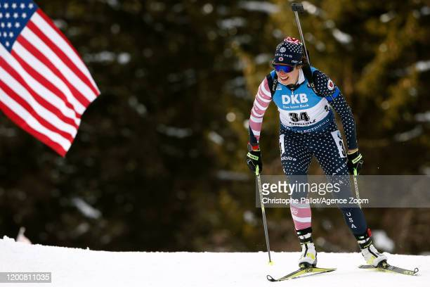 Susan Dunklee of USA takes 2nd place during the IBU Biathlon World Championships Women's 7.5 km Sprint Competition on February 14, 2020 in Antholz...