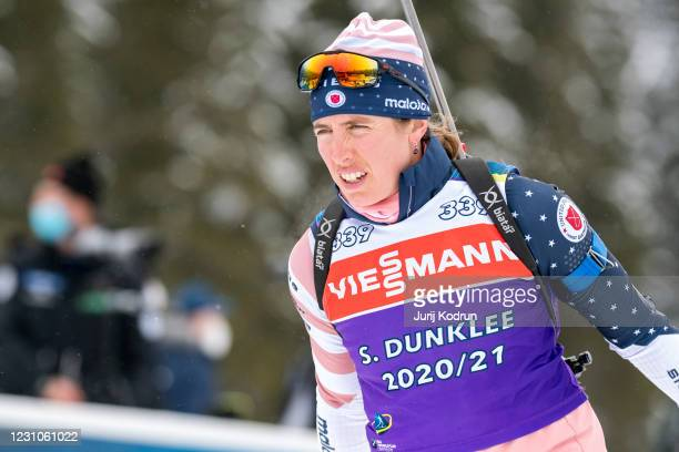Susan Dunklee of USA trains during the second official training session at the IBU World Championships Biathlon Pokljuka, on February 9, 2021 in...