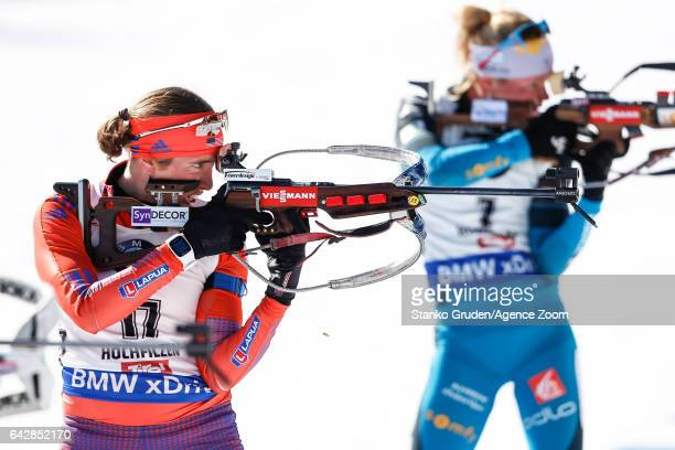 Susan Dunklee of USA wins the silver medal during the IBU Biathlon World Championships Men's and Women's Mass Start on February 19, 2017 in...